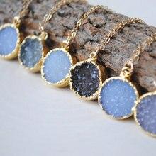 Лидер продаж! натуральный круглый кулон агат на ворота ожерелье элегантно с золотой отделкой на краями WT-N236
