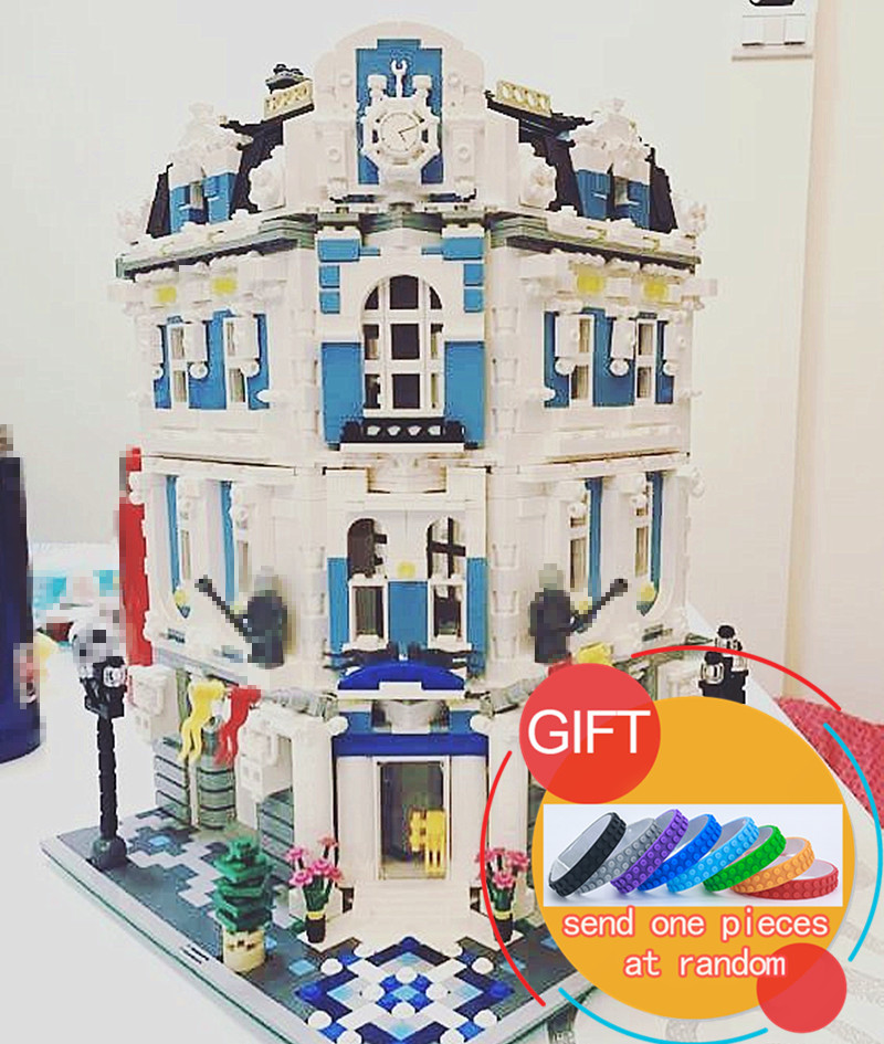 15018 3196pcs MOC City Series The Sunshine Hotel Set Building Blocks Educational Toys DIY Children Day's Gift lepin lepin 16050 the old finishing store set moc series 21310 building blocks bricks educational children diy toys christmas gift