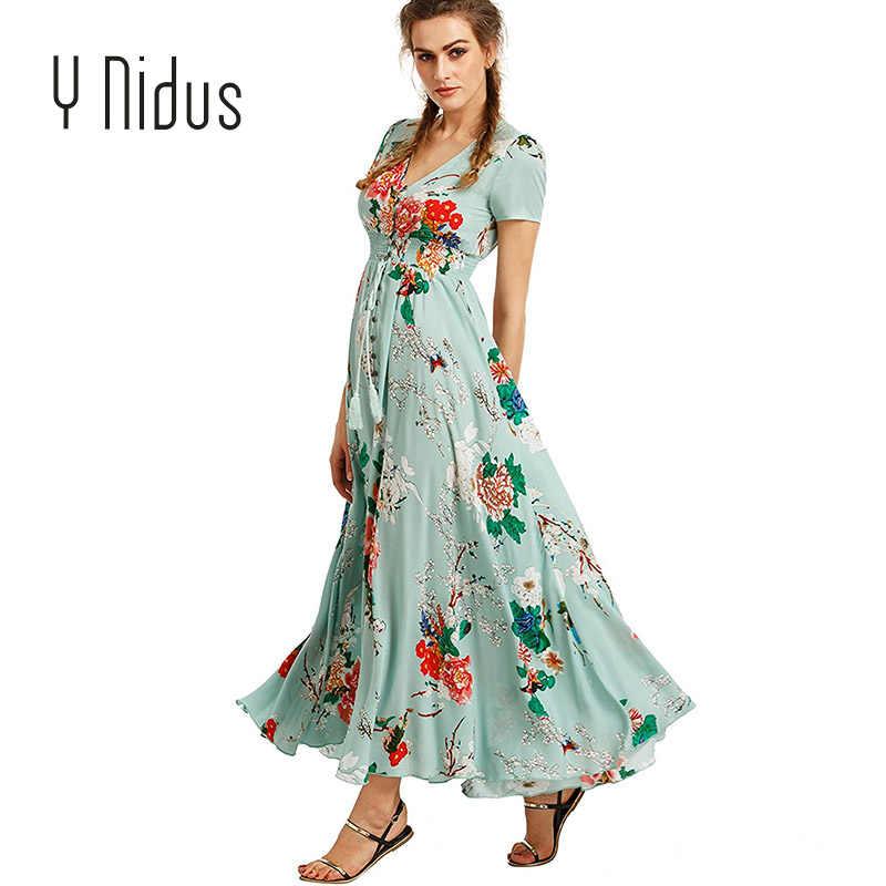 Y Nidus женские платья для женщин осень и весна платье 2018 Макси Лето на  пуговицах разделение 8148b7fec82