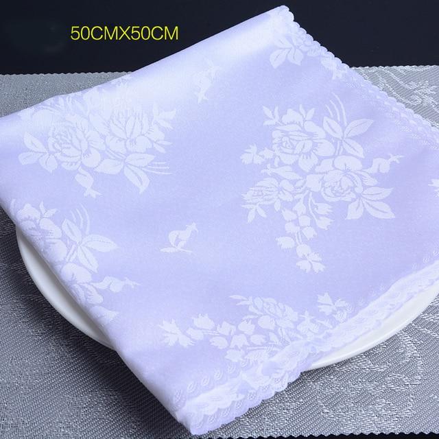 10 pcs table napkins cloth wedding high quality luxury white jacquard cotton linen napkin towel decoration for event party hotel