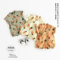 Cute Baby Korea Baby Rompers Suits Infant Kids Monk Short Sleeve Kimono Baby Boy Girl Clothes Baby Sleepwear