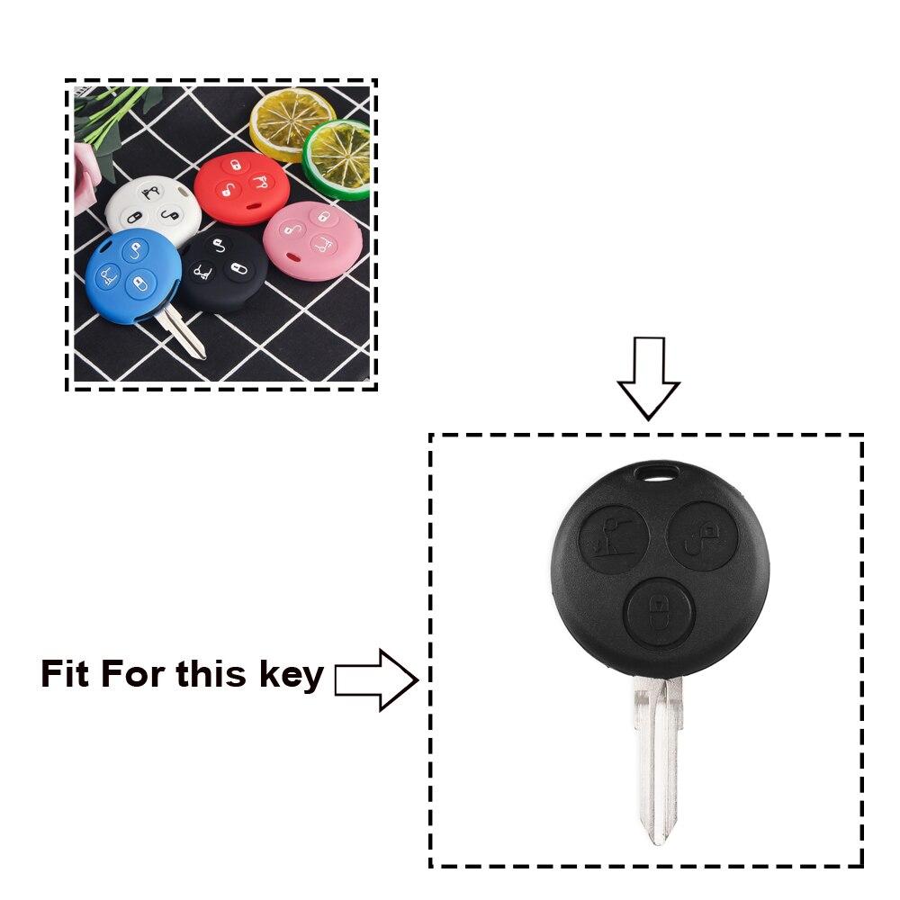 KEYYOU, 3 кнопки, силиконовый чехол для автомобильных ключей, брелок, чехол для Mercedes Benz Smart City Roadster Fortwo, чехол для ключей, автомобильный стиль