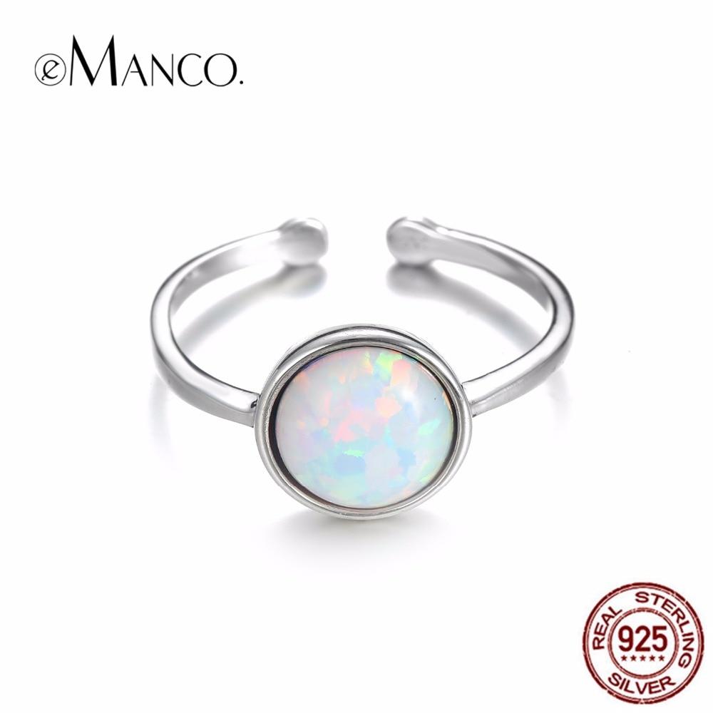 1bf77a3b163 EManco perfecto de ópalo de plata 925 anillo de piedra en forma de colorido  brillante minimalista ...