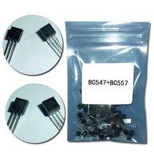 50 шт./лот) BC547+ BC557 каждый 25 шт. BC547B BC557B Силовые транзисторы NPN PNP транзисторов TO-92 Мощность транзисторный Триод вещевой мешок