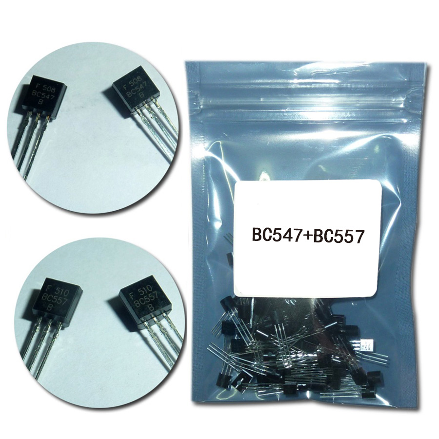 (50Pcs/lot)BC547+BC557 Each 25Pcs BC547B BC557B NPN PNP Transistor TO-92 Power Triode Transistor Kit Bag