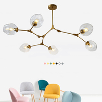 1/3/5/6/7/8 Heads Multiple Rod Wrought Iron Ceiling Light Retro Globe Branching Bubble Ceiling Lamp For Home bedroom Cafe Bar