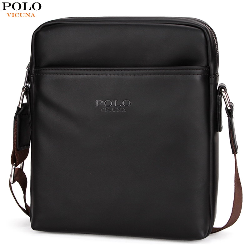 VICUNA POLO Casual Solid Brand Leather Bags Classic Fashion Mens Messenger Bag For iPad Luxury Mens Travel Shoulder Bag Handbag