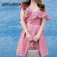 נשים מעצב אופנה כתף אחת חלולה את כפתור vestlinda dress 2017 מסיבת קיץ dress robe femme אונליין מיני הוורוד dress