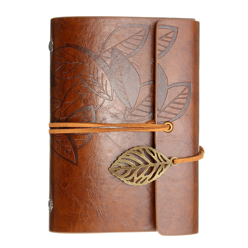 все цены на 1pcs Vintage Blank Leather Cover Diary Writing Pockets Book Leaf Notebook Loose Travel Journal Sketchbook Stationery Gift
