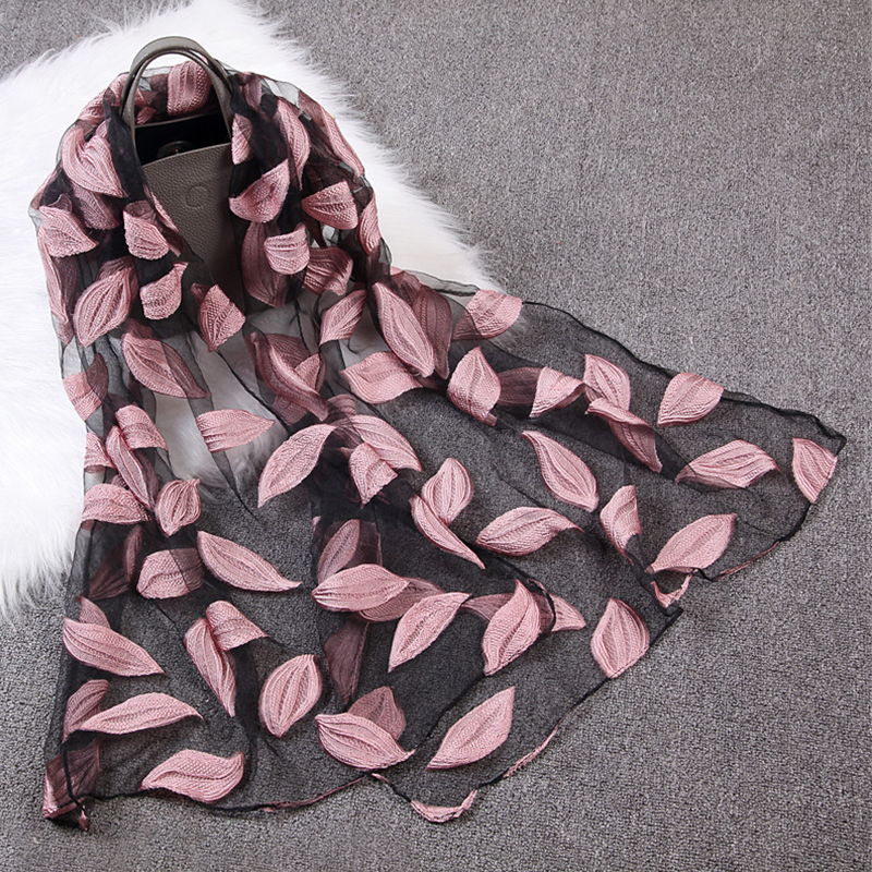 2019Women's Luxury Brand Plain Embroider Leaves Jacquard Organza   Scarf   Soft Muffler Long Beach   Scarves     Wraps   Sjaal Spring Summer