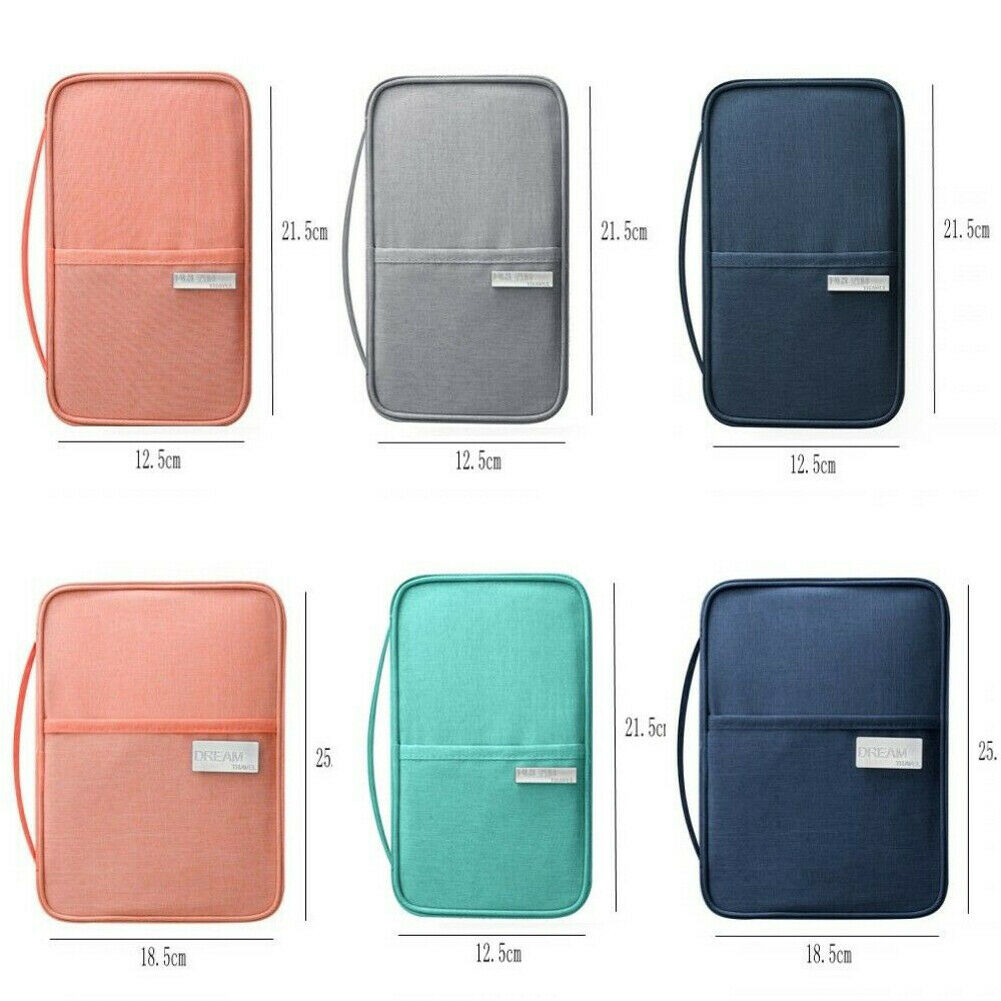 Portable Family Travel Wallet Passport Holder Storage Bag Waterproof Blocking Zipper Document Purse