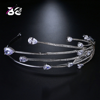 Be 8 High Quality Cubic Zirconia Headband Hair Accessories Women Wedding Crowns and Tiaras for Bride Gifts Coroa De Noiva H100