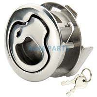 Stainless Steel Marine Boat Lock Flush Pull Latch Hatch Lift Handle With Key 2 Cuthole