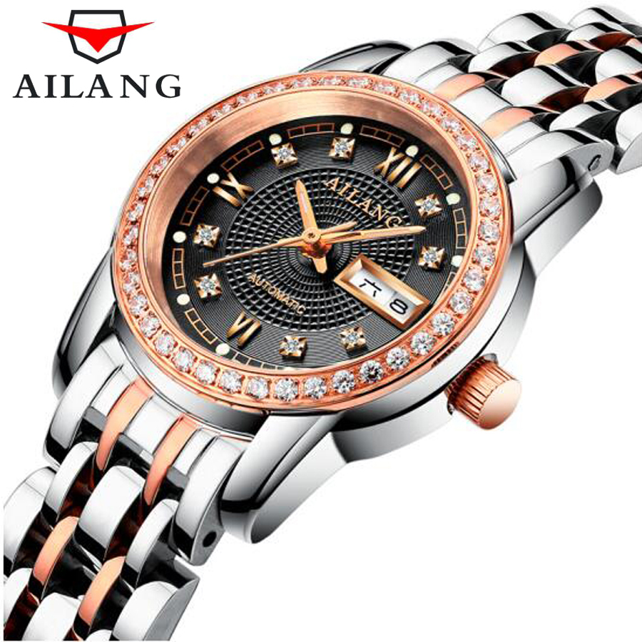 AILANG Gold Stainless Steel Strap Top Brand Luxury Women Watch Anique Design Elegant Fashion Women Automatic machine Watches liber aedon gold stainless steel strap top brand luxury women watch anique design sport quartz elegant fashion women watches