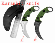 Free shipping Karambit knife D2 Blade Fixed Knife G10 Handle Hunting Knives Camping Tool Survival Tactical Knife  claw knife