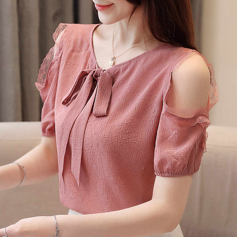 Summer Blouses for Women Ladies White Tops Blusas Mujer De Moda 2019 Womens Clothing Off Shoulder Tops Chiffon Blouse  3396 50