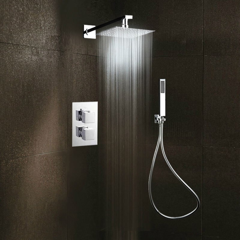 Lovely Cross Joint Dark Outfit Shower All Copper Shower Set Hidden Embedded  Temperature Pressurization Mix Water