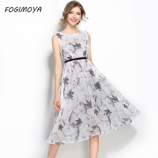 Fogimoya платье женские летние Мода 2017 шифона с принтом плюс размер платья женская без рукавов с круглым вырезом Васит пояса печати длинное платье