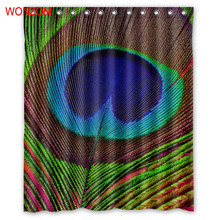 WONZOM Peacock Feather Shower Curtains with 12 Hooks For Bathroom Decor Modern Bath Waterproof Curtain New Bathroom Accessories peacock feather fabric shower curtain with hooks