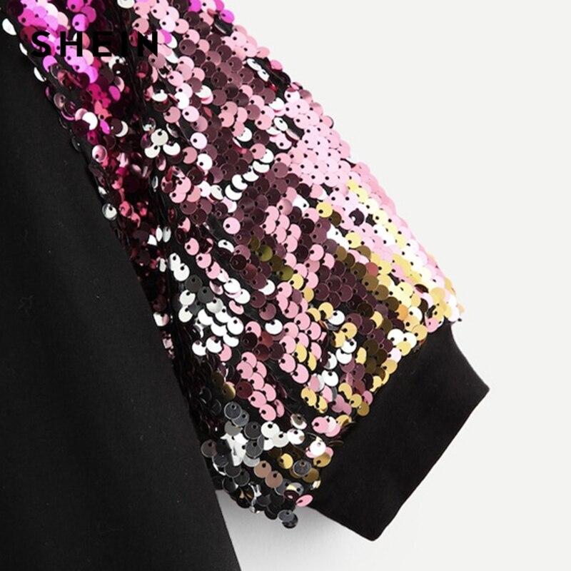 51bf051b4b SHEIN Black Turtleneck Casual Kids Sequin T Shirt Girls Tops 2019 Spring  Korean Fashion Half Sleeve Children Girls Shirts Tee-in Tees from Mother &  Kids on ...