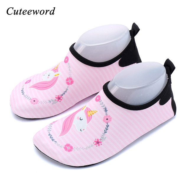 bf16e77b2308 Beach water shoes for children boys and girls cartoon unicorn diving socks  snorkeling swimming shoes treadmill yoga soft shoe