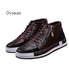 Ovxuan Reto Genuine Leather Male Casual Shoes Party Mens Dress High Top Leather Shoes Men Fashion Metal Zip Oxford Shoes for Men