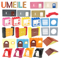 UMEILE City House Castle Castle Wall Door Window Roof Large Particle Building Blocks Diy Create Baby Toys Compatible with Duplo