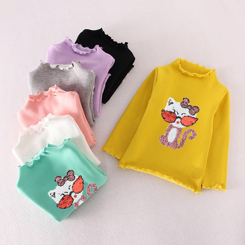 Reversible Sequin Change Candy Color Children T shirt Girls Blouse Tops Autumn Ruffle Neck Girls Long Sleeve Tops T shirt Kids breast pocket v neck long sleeve t shirt
