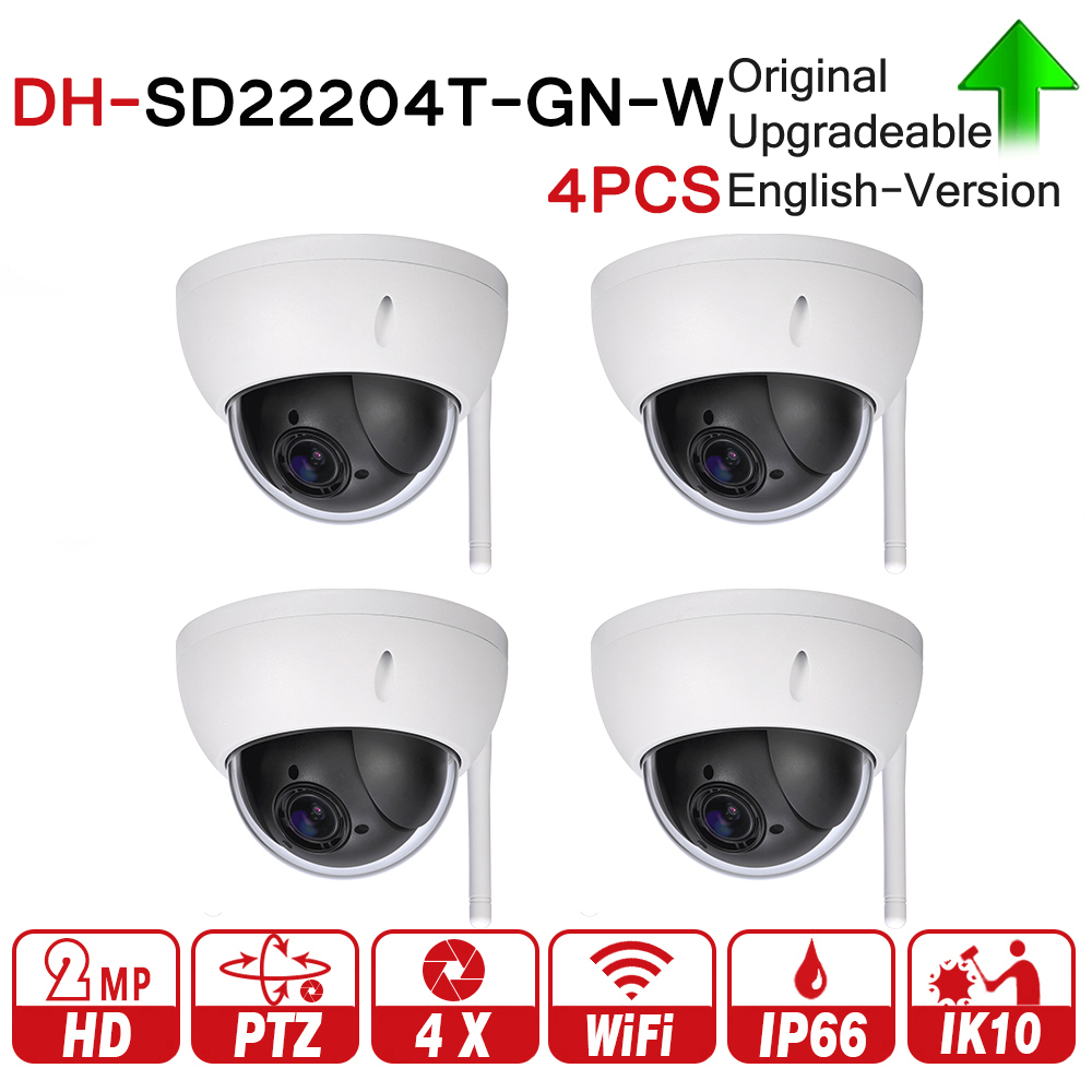 DH SD22204T-GN-W 2MP 1080P 4X Optical Zoom WiFi High Speed PTZ Wireless Network IP Camera WDR ICR DNR IVS IP66 IK10 4pcs/lot original dahua 1080p mini ptz ip camera dh sd22204t gn 4x zoom hd network speed dome camera onvif sd22204t gn with power supply