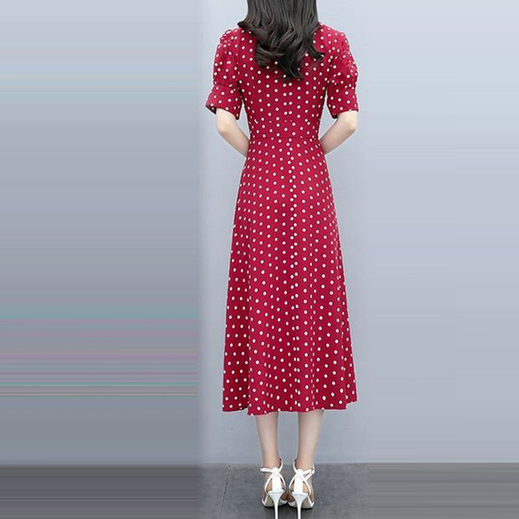 New Summer Print Floral Dress Women V Neck Short Sleeves Chiffon Bohemian Dresses Beach Midi Female