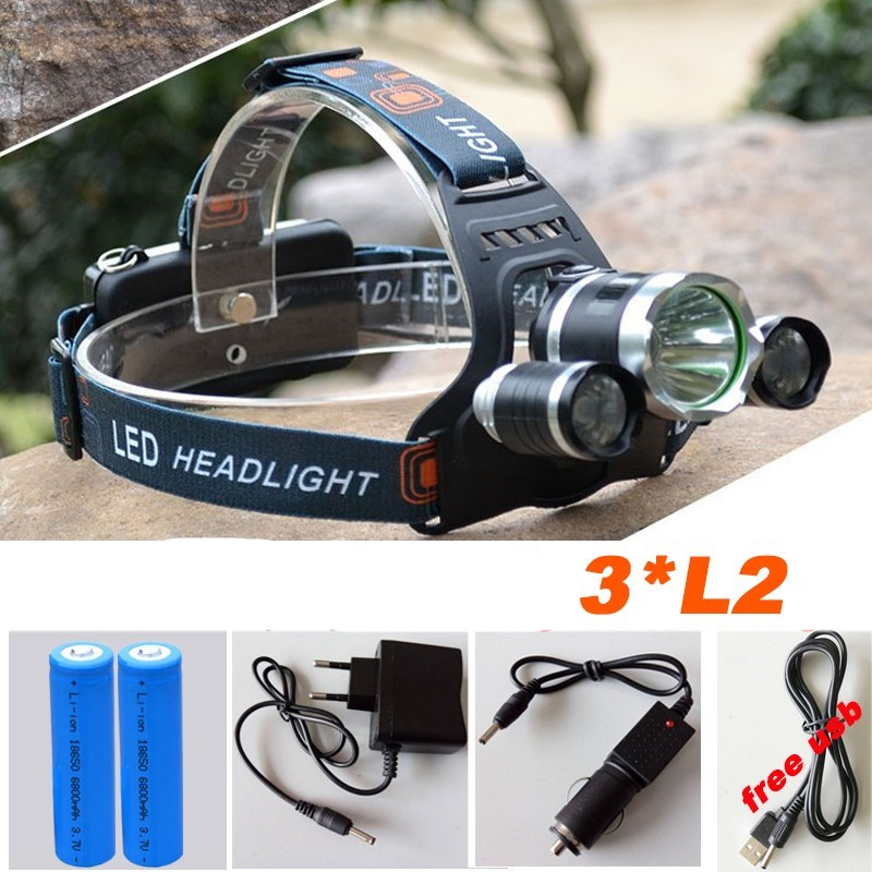 High quality Led Headlamp Headlight 20000 Lumens Linterna 3x L2 Hiking Head Light with Charger headlamp 18650 battery high quality led headlamp headlight 20000 lumens linterna 3x cree xml l2 hiking head light with charger headlamp 18650 battery