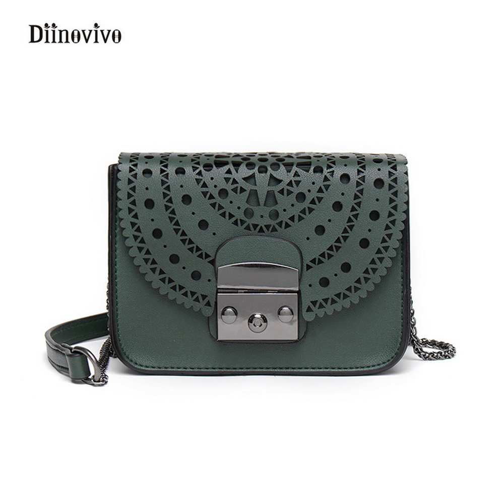 DIINOVIVO 2017 Fashion Punk Style Rivet Women Hollow Out Shoulder Bag Youth Leather Handbags Simple Brand Crossbody Bag WHDV0293