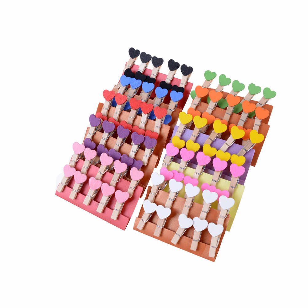 10Pcs Colored Mini Love Heart Wooden Clothespin Office Supplies Craft Clips DIY Clothes Paper Peg Clothespin 3.5x0.8cm