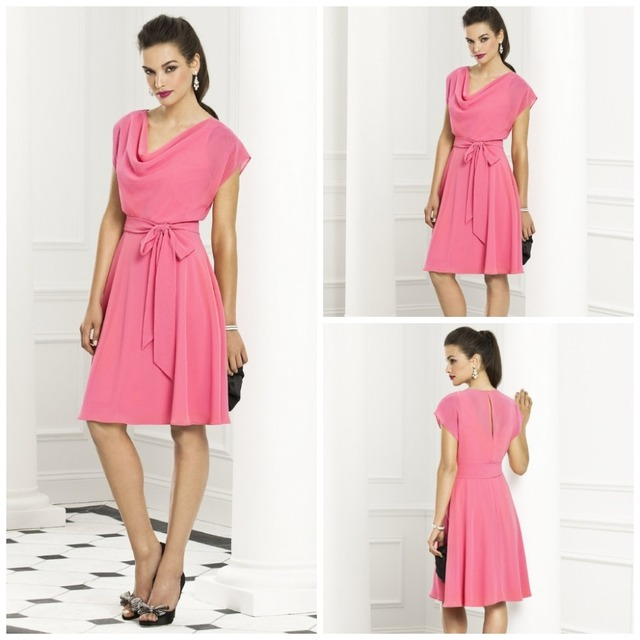 Blush Pink Chiffon Bridesmaid Dresses Under 100 High Neck Cap Sleeve Knee Length Latest 2017
