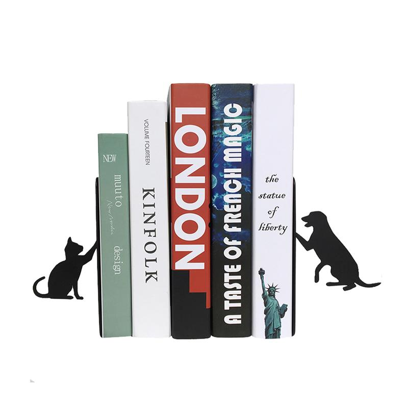 US $19 8 |Dog and Cat Steel iron Bookends for Pet Lovers Student Metal Book  Stand Home Office Stationer File Book Holders Magazine shelves-in Bookends