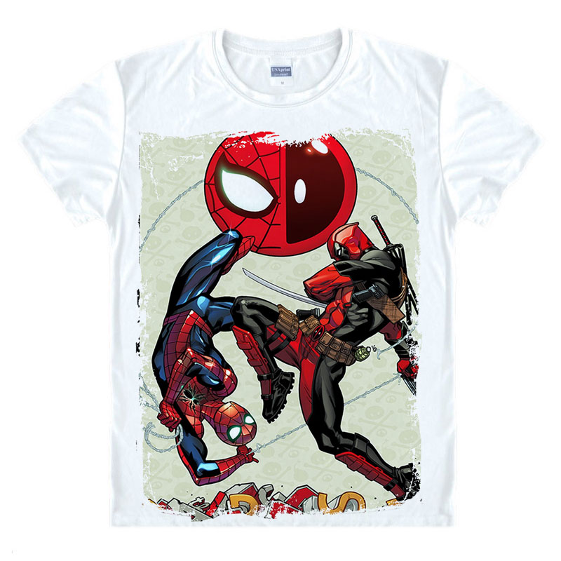 Uus Slim Deadpooli kostüüm X-men White Man Casual T-särk Cool man deadpool T-särk Fashion 2016 deadpool spiderman Trükitud Homme