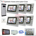 "Access Control Video Door Phone Intercom System For 6 Different Apartments 6 Pcs Color 7"" Indoor Monitor 6 Keys Outdoor Camera"