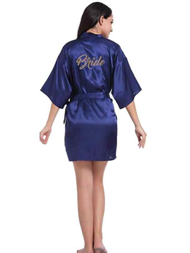 navy blue robe gold writing kimono bridal party robe bridesmaid sister mother of the groom bride robes wedding best gift