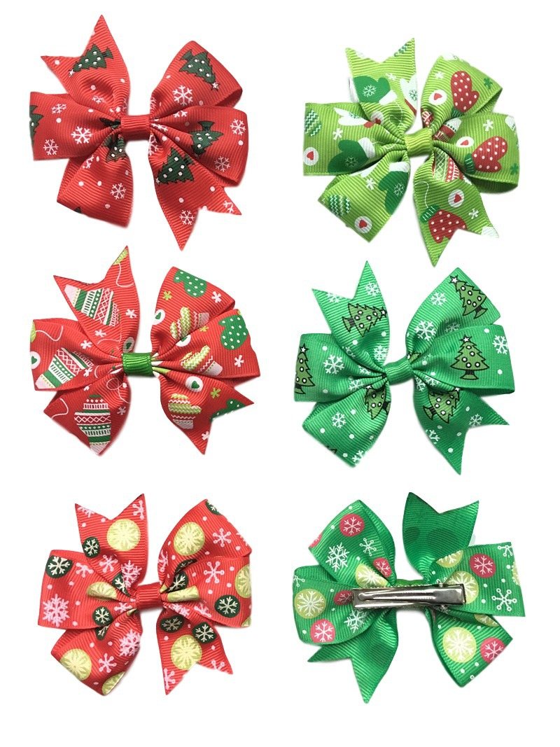 New baby christmas ornament - 20pcs Lot 2016 New Children Accessories Christmas Bows Hair Hairpin Newborn Baby Hair Barrette Clips