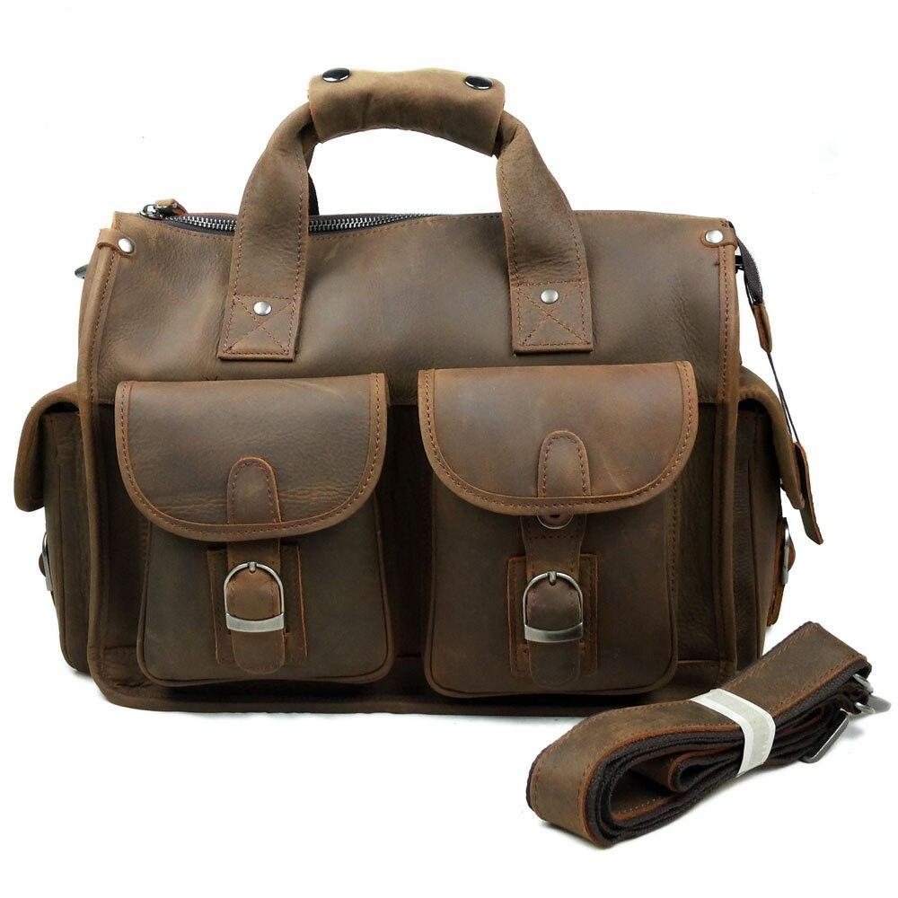 JOYIR men's briefcase crazy horse genuine leather men's business bag vintage messenger shoulder bag for male men briefcase 6371