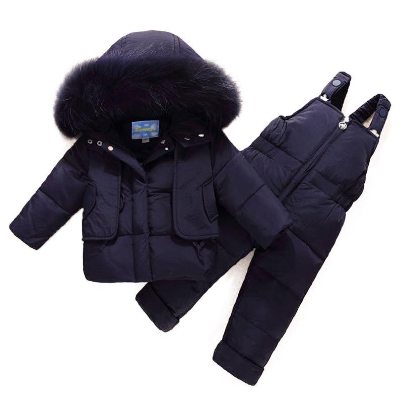 Russian Winter Children Suit Toddler Boys Girl Clothes Sets Children Duck Down Jacket Winter Warm Hooded