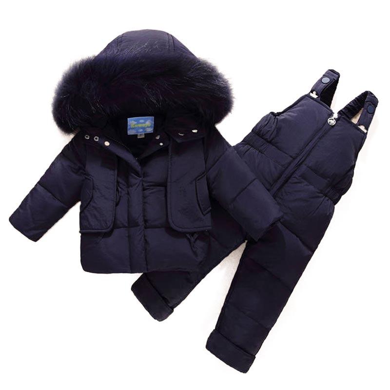 Russian Winter Children Suit Toddler Boys Girl Clothes Sets Children Duck Down Jacket Winter Warm Hooded Newborn Infant Snowsuit