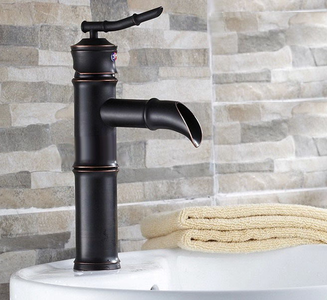 Black Oil Rubbed Brass Single Lever Bamboo Bathroom Vessel Sink Basin Mixer Tap Faucet Cnf221Black Oil Rubbed Brass Single Lever Bamboo Bathroom Vessel Sink Basin Mixer Tap Faucet Cnf221