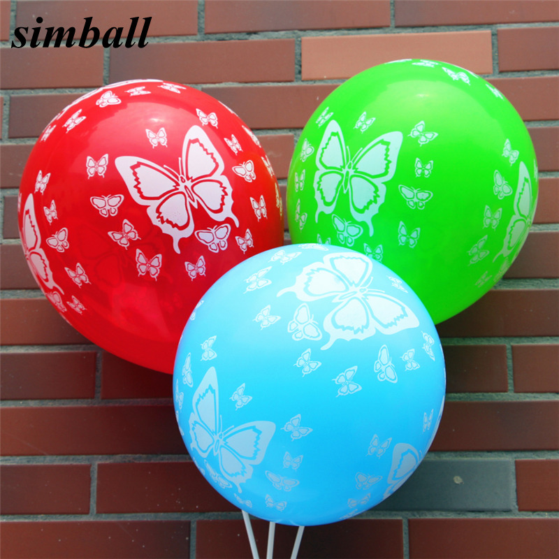 50 pcs/lot 12 pouces 2.8g Papillon Imprimé Latex Ballon Gonflable Boules D'air Pour Fête D'anniversaire De Mariage Décoration Ballons à L'hélium