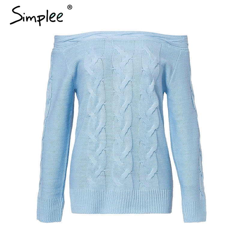 Simplee Off shoulder twist women knitted plus size sweaters Elegant slim fit pullover and sweater 2018 Autumn winter female tops