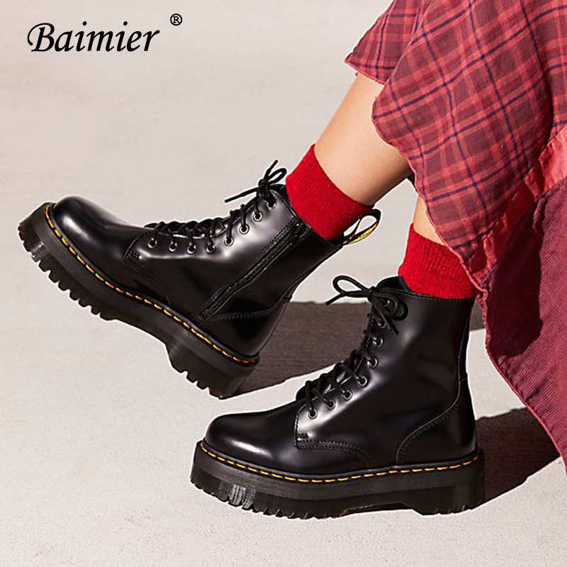 Baimier Black Patent Leather Ankle Boots For Women Lace Up Platform Boots Women Winter Warm Plush Women Boots Street Style Shoes(China)