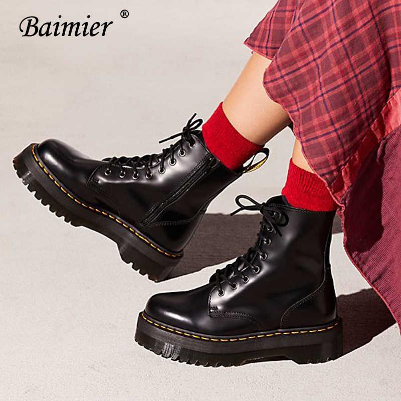 78ccfdd6341e Baimier Black Patent Leather Ankle Boots For Women Lace Up Platform Boots  Women Winter Warm Plush