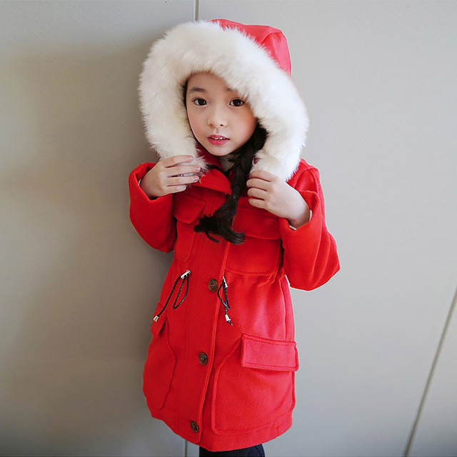 Winter 2016 Girls Wool Coats Long Real Fur Collar Single Breasted Kids Clothes High Quality Red/Dark Blue Coat