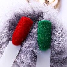 Рождественская пушистая бархатная пудра для ногтей, 1 коробка, цветной блестящий зимний уф гель лак для ногтей