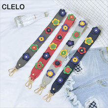 CLELO 2017 Flowers Strap Belt Pu Leather Women Handbags Shoulder Bags Belts Bag Accessories Handles For Girls Replacement Of